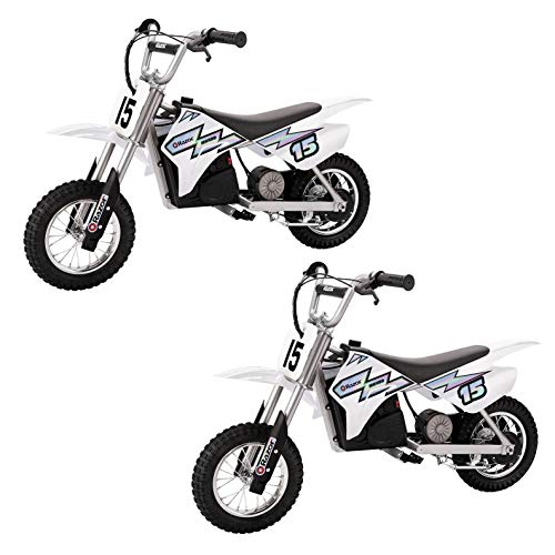 Razor MX400 Dirt Rocket Kids Ride On 24V Electric Toy Motocross Motorcycle Dirt Bike, Speeds up to 14 MPH, White (2 Pack)