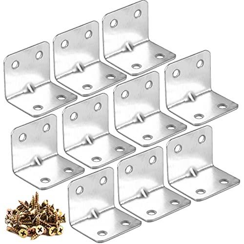 KONUNUS 10 Stück Winkelverbinder Edelstahl Winkel 32 x 32 mm L Förmige Metallwinkel Eckhalterung 90 Grad Metall Winklige Ecke mit 40 Schrauben für Festsetzung Schränke Tische Stühle Hölzern Möbel
