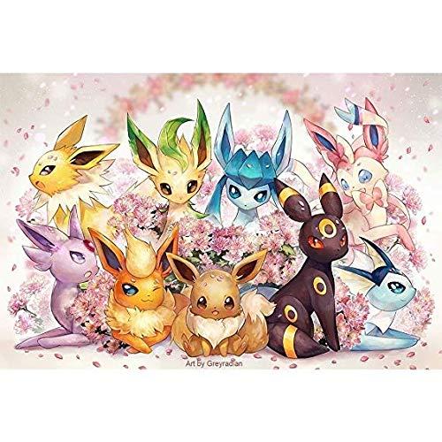 NO BRAND Pokemon Puzzle 500/1000/1500 de Las Piezas de Madera Niños Jigsaw Puzzle Cerebro Adulto Juega 8 años en adelante (Color : A, Size : 300PC)