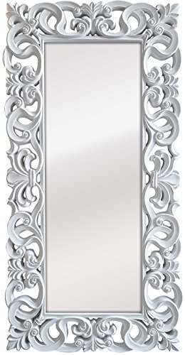 -Espejo Fabricado en España y Decorado a Mano- Medida Exterior 88x178 cm, Medida de Espejo 48x138 cm. Espejo Decorativo de Pared Modelo Goya Color Blanco decapé