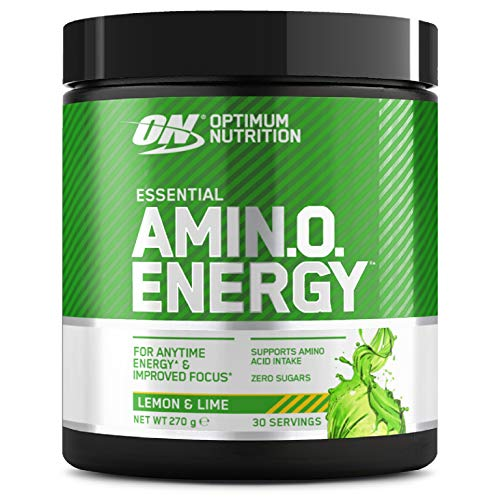 Optimum Nutrition Amino Energy, Pre Workout in Polvere, Energy Drink con Beta Alanina, Vitamina C, Caffeina et Aminoacidi, Lemon e Lime, 30 Porzioni, 270g, il Packaging Potrebbe Variare