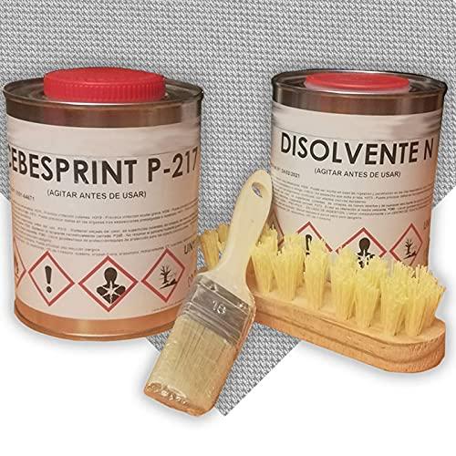 Tela tapizar techo coche gris medio - kit completo - 2 mts tela techo gris medio - 1 lt pegamento calor extremo- 1 Lt. disolvente - Cepillo y brocha de regalo