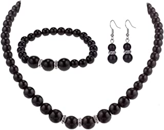 black necklace and earrings set