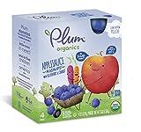 Plum Organics Mashups, Organic Kids Applesauce, Blueberry & Carrot, 3.17 Ounce Pouch, 4 Count (Pack of 6)
