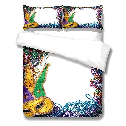 zzttyyz Bedding Set Duvet Cover Colorful mask 200x200cm Duvet Cover and Pillowcase,3D Microfiber Kids Girls Teens Psychedelic Printing Art Bedspreads Bed Set 3 Piece