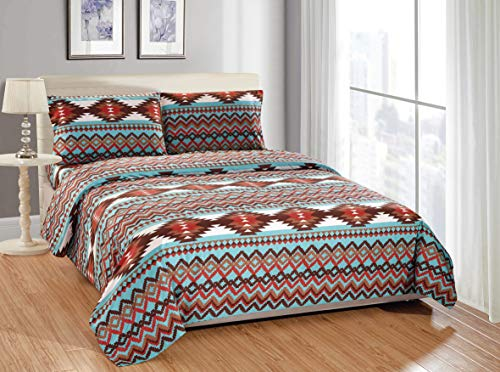 Rugs 4 Less Rustic Southwestern Western Bedsheets Set with Navajo Tribal Native American Patterns in Turquoise Blue and Brown – Utah Bed Sheet Set (Full, Turquoise)