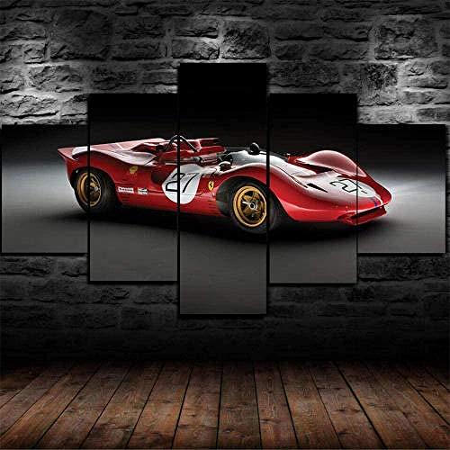 BHJIO Impresiones En Lienzo 5 Piezas Ferra 350 Can-Am 1967 Coche Poster HD En Lienzo Modular Modern Interior Decorations Wall Art-Tamaño Regalo 150 * 80Cm.