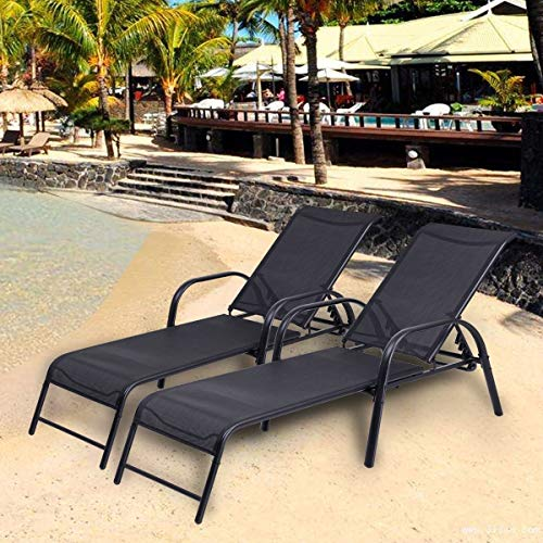 Outdoor Poolside Patio Garden Modern Furniture Decor Set 2, 5 Adjusting Position Recliner Breathable Black Fabric Comfortable Chaise Lounge Chair Sturdy Steel Frame with Armrest Lightweight