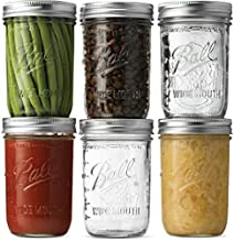 Ball Wide Mouth Mason Jars (16 oz/Capacity) [6 Pack] with Airtight lids and Bands. For Canning, Fermenting, Pickling, Decor - Freezing, Microwave And Dishwasher Safe. Bundled With SEWANTA Jar Opener