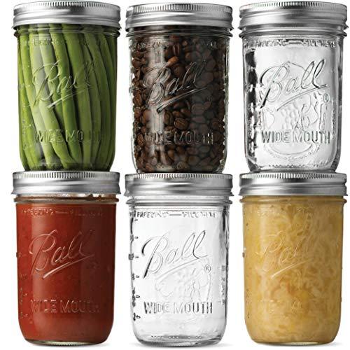 Ball Wide Mouth Mason Jars 16 oz [6 Pack] With mason jar lids and Bands, Ball mason jars 16 oz - For Canning, Fermenting, Pickling - Jar Decor - Microwave/Freeze/Dishwasher Safe + SEWANTA Jar Opener