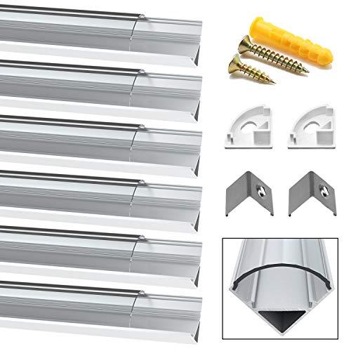 Chesbung [6Pack,1M/3.3ft] Profilo in Alluminio a Forma di V per Striscia a led, con Cover e Tappi di Chiusura laterali. Canalina di Alluminio con Cover, Montaggio Universale