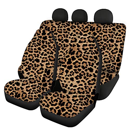 Woisttop Juego de 4 piezas de accesorios para coche, 2 fundas para asientos delanteros de coche + 2 fundas para asientos traseros divididas, ajuste universal