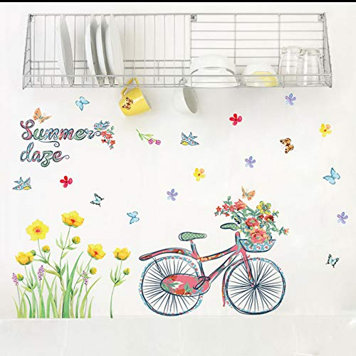 TAOYUE Pastoral Style Yellow Flower and Bicycle Summer Wall Stickers for Kids Room Living Room Bar Home Art Decoration Wall Decals PVC