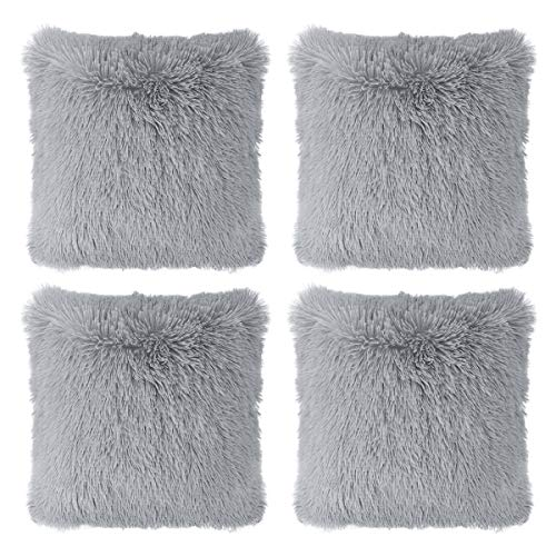 "Hivexagon Faux Fur GREY Pillow Cover Set of 4 (17"" x 17"")"