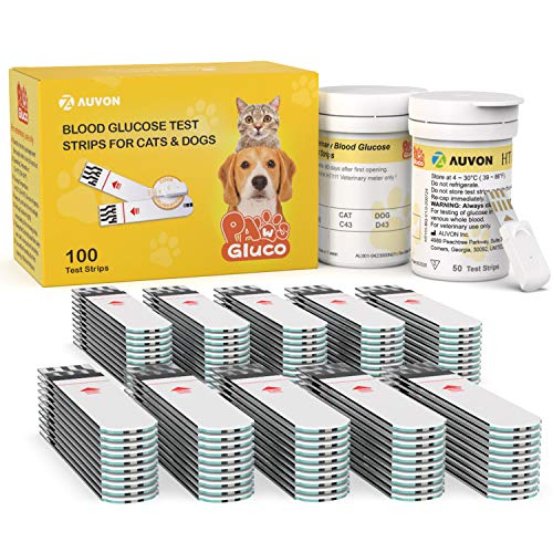 AUVON Blood Glucose Test Strips for Dogs and Cats (100 Count) for use with AUVON High-Tech Veterinary Animal-Specific Blood Sugar Test Kit