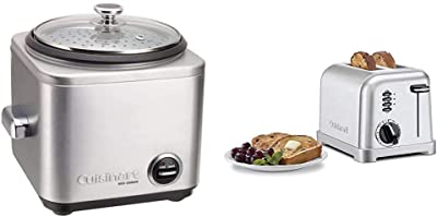 Cuisinart CRC-400 Rice Cooker, 4-Cup, Silver & CPT-160P1 Metal Classic 2-Slice Toaster, Brushed Stainless