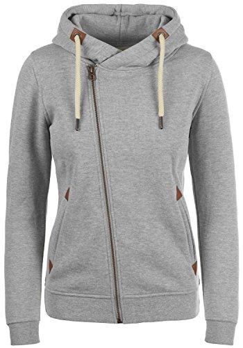 DESIRES Vicky Zip-Hood Damen Sweatjacke Kapuzenjacke Hoodie Mit Kapuze Fleece-Innenseite Und Cross-Over-Kragen, Größe:S, Farbe:Light Grey Melange (8242)