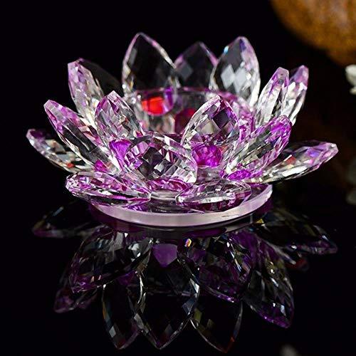 niawmwdt 12Cm Multicolor Vetro Fiore di Loto Colonna di Cristallo Portacandele Candelabro Candeliere Decorazioni per La Casa Candelabri 8 Colori, Viola