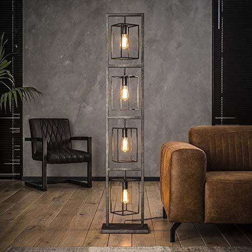 Beauty.Scouts Stehlampe Lampe Gondo Metalllampe Silber rechteckig 24x34x160cm (B/T/H) Industrial Style Pendelleuchte Wohnzimmerlampe Wohnzimmerleuchte