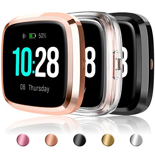 Mastten Ultra Thin Cover Compatible with Fitbit Versa 2 Screen Protector Case, Soft TPU HD All-Around Full Cover Bumper Shell Versa 2 Case Protective Cover, Clear/Black/Rose Gold