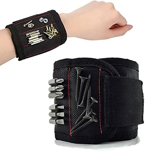 Pulsera magnética ajustable, correa de velcro magnética, cinturón de herramientas con 10 imanes súper fuertes para tornillos, clavos y puntas (negro)