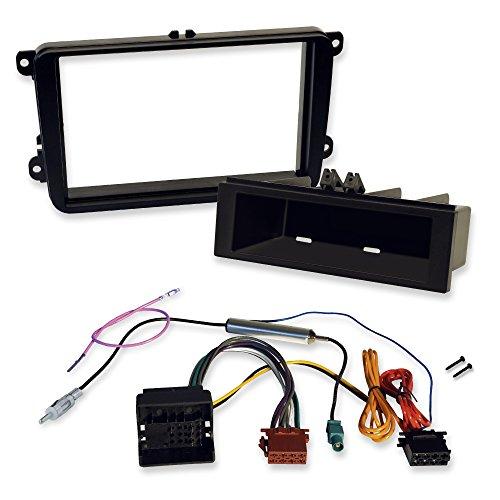 Seat 2-Din und 1-Din Einbauset mit Radioblende, Ablagefach Quadlock/ISO-Radioadapter und Antennenadapter mit Phantomspeisung