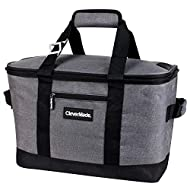 CleverMade Collapsible Cooler Bag: Insulated Leakproof 50 Can Soft Sided Portable Cooler Bag for Lunch, Grocery Shopping, Camping and Road Trips, Heather Grey/Black