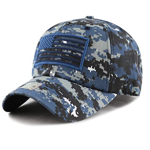 USA American Flag Baseball Cap Military Army Operator Adjustable Hat (Navy Camo)