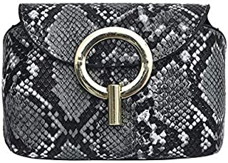 TOOGOO Fashion Snake Pattern Leather Belt Bags Phone Pouch Women Pu Leather Waist Bags Gray