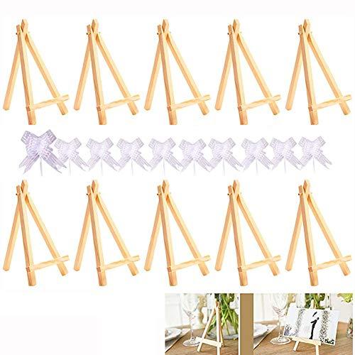 Mini Holz Staffelei, 10 Mini Dreieck Holz Display Ständer, 10 Geschenkbögen, verwendet für Hochzeit, Visitenkarte Display, Geburtstagsdekoration