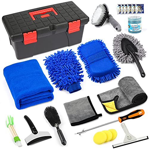 23PCSCar Wash Cleaning Tools Kit,Car Detailing Set with Tool Box,Exterior & Interior Car Accessories Cleaner Kit with Microfiber Cleaning Cloth,Wash Mitt, Duster,Cleaning Gel,Squeegee, Waxing Sponge