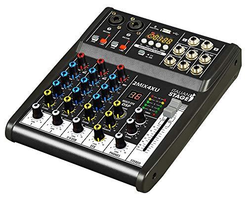 IS 2MIX4XU - Mezclador compacto con grabador USB con interfaz de audio integrada y conectividad Bluetooth