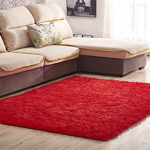Odot Alfombra Shaggy para Salón, Color sólido Pelo Largo Elegante Mullida Brillante Super Suave Interior Moderno Lavado Sedoso Antideslizantes Peludas Dormitorio (80 * 120cm,Rojo)