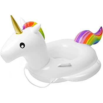 Baby Pool Float Unicorn Toddlers Floaties Infant Inflatable Swimming Ring with Handles for Kids Aged 1-6 Years