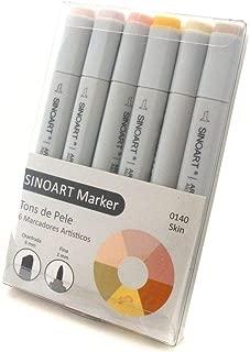 Marcador Artístico Sinoart Marker 06 Tons Pele Sinoart, 6 Tons Pele