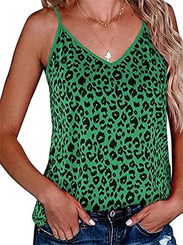 Camisola Mujer Camiseta Mujer Sexy con Cuello En V Sin Mangas Top Moda Leopardo Patrón Elegante Cómodo Casual Delgado Mujer Top Mujer Camiseta Sin Mangas B-Green XL