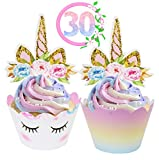 Unicorn Cupcake Toppers and Wrappers Decorations (30 of Each) - Reversible Rainbow Cup Cak...