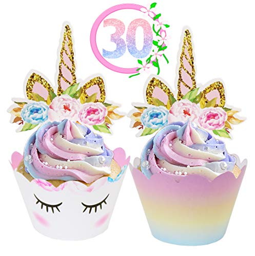 Unicorn Cupcake Toppers and Wrappers Decorations (30 of Each) - Reversible Rainbow Cup Cake Liners with Unicorn Topper | Cute Decorating Supplies for Girl Birthday Party