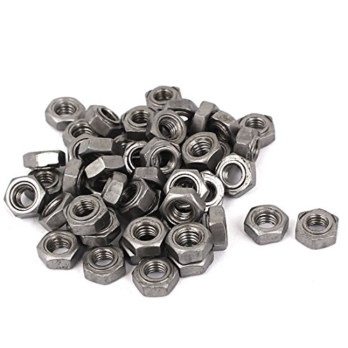 uxcell Weld Nuts,M6 Hex UNC Coarse Carbon Steel Machine Screw Gray Pack of 50