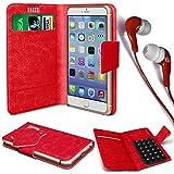 N4U Online® - Oppo N1 Mini-PU-Leder Saugnapf Mappen-Kasten-Abdeckung & 3,5-mm-Ohrhörer Stereo-Ohrhörer - Red