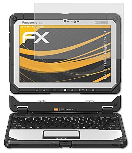 atFolix Panzerfolie kompatibel mit Panasonic ToughBook 20 Schutzfolie, entspiegelnde & stoßdämpfende FX Folie (2X)