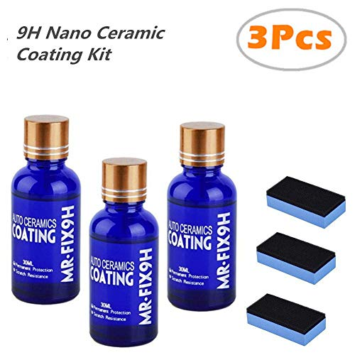 blue--net Car Ceramic Coating 9h Car Ceramic Coating Kit Anti-Scratch Car Polish Car High Gloss Ceramic Coat Auto Detailing Glass Coat Care Super Hydrophobic Glass Coating 30ml 3PCS