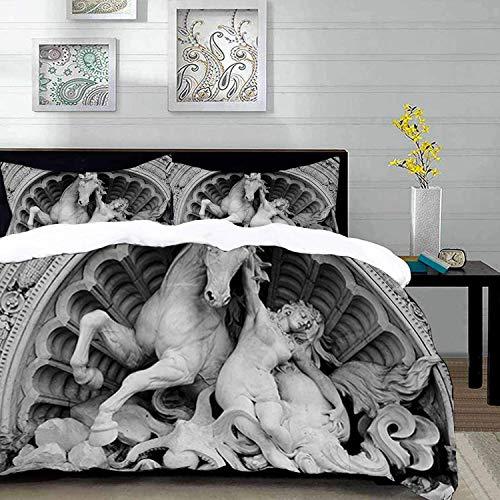 ropa de cama - Juego de funda nórdica, Esculturas Una ninfa luchadora con pulpo Seashell Horse en un arte de escultura luneta en Bolonia, Juego de funda nórdica de microfibra con 2 Funda de almohada 5