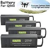 7500mAh 3S High Capacity LiPo Battery Extra Flight Time for YUNEEC Q500 Q500+, Q500 4K, Typhoon G Drone RC Quadcopter - 4Pcs,Black