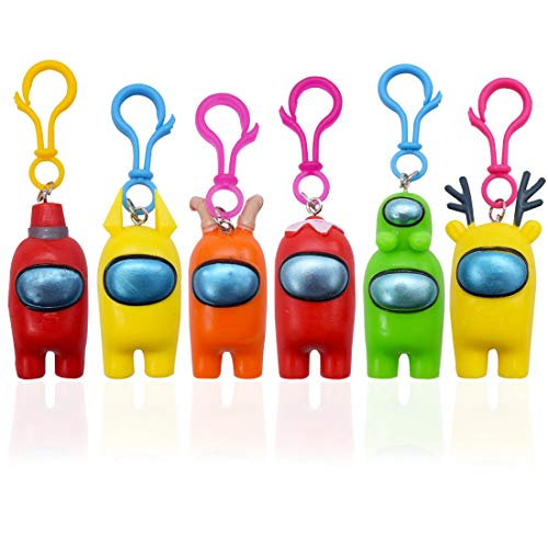 6 piezas Entre nosotros llavero ZSWQ- entre nosotros, figura de juego, juego de llaves de figura de juego, muñeca de personaje de hombre lobo con llavero regalo de lobo lindo regalo para niños