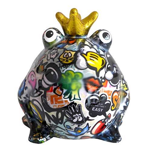 Pomme Pidou Spardose Frosch Froschkönig Graffiti bunt 15x17 Sparbüchse Geldgeschenk