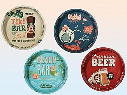 Preisvergleich für Tablett Serviertablett Metall runde Form Ø 34 cm vintage Design mit Bier Cocktail Motiven 1 Stück, Farbe:Rot