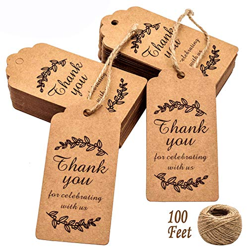 Paper Gift Tags Thank You for Celebrating with Us, Whaline 100 Pcs Paper Hang Tag for Wedding Party Favors, Baby Shower with 100 Feet Natural Jute Twine (Leaves Brown)