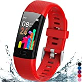 Inspiratek Kids Fitness Tracker for Girls and Boys Age 5-16 (4 Colors)- Waterproof Fitness Watch for Kids with Heart Rate Monitor, Sleep Monitor, Calorie Counter and More - Kids Activity Tracker (Red)