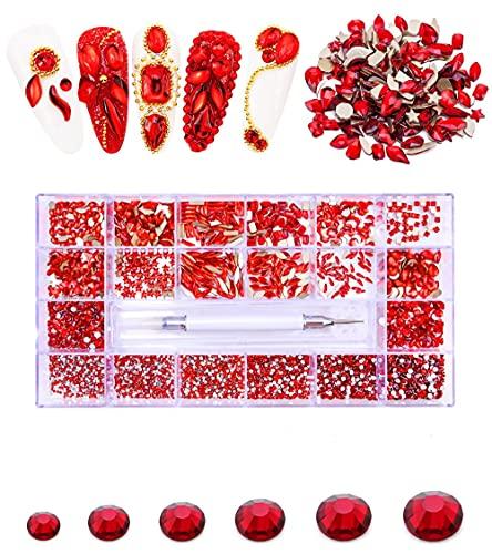 Diamantes de imitación para uñas, 21 rejillas y 10000 piezas de cristal transparente, gemas Bedazzler para manualidades y diseño de uñas, suministros de uñas VOSOVOVO-600+4700 rojo